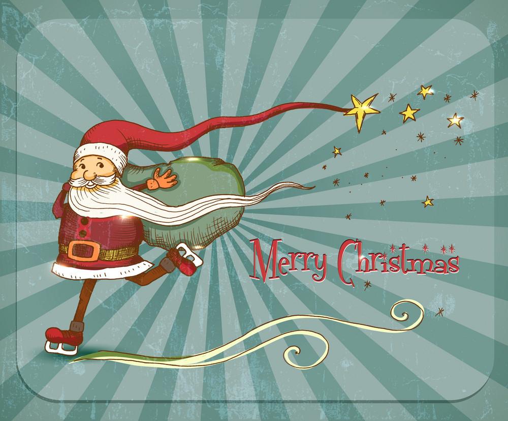 Christmas Illustration With Santa Vector