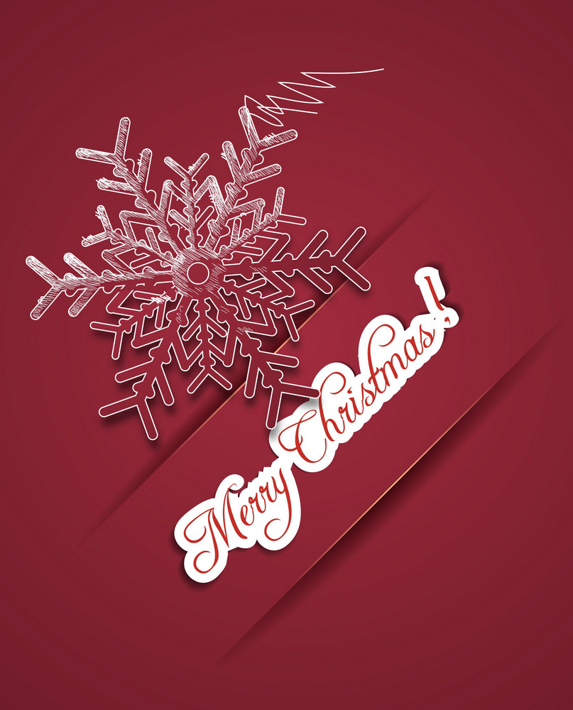 Christmas Illustration With Snow Flake