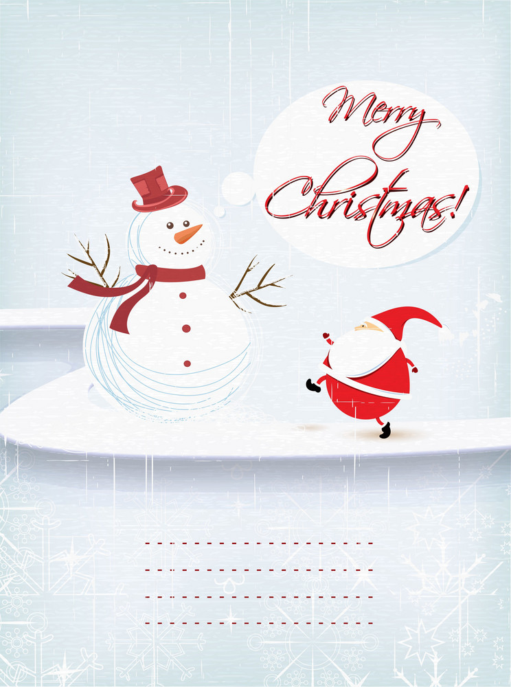 Christmas Illustration With Snow Man And Santa