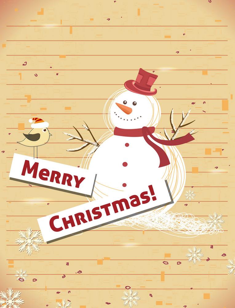 Christmas Illustration With Snow Man