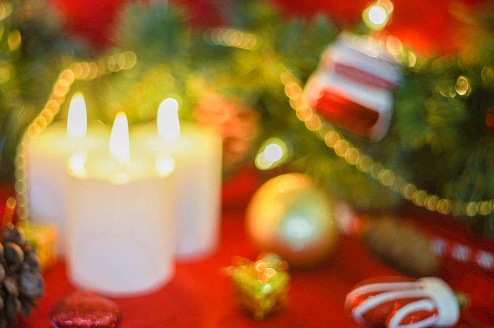 Christmas Ornament And Candles-defocused