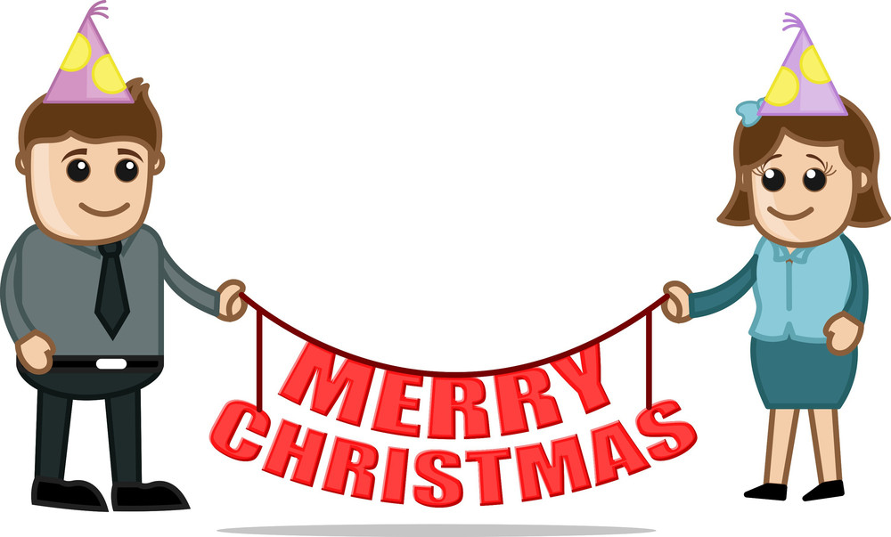 Christmas Party Celebration - Cartoon Business Characters