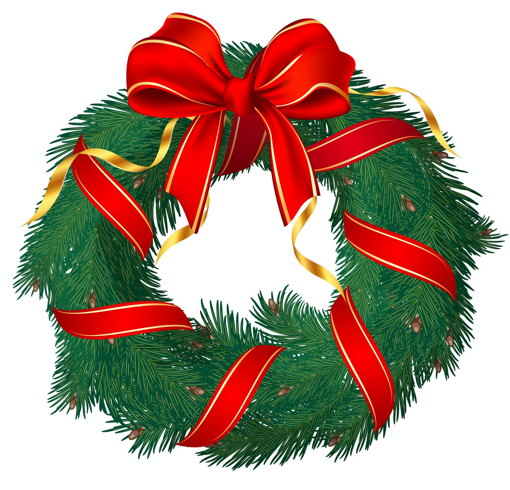 Christmas Pine Garland Decorated With Red And Golden Ribbons. Vector.