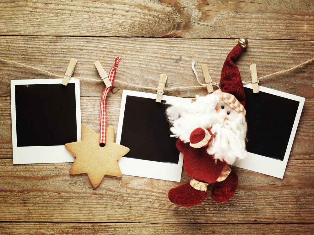 Christmas polaroids with Santa toy