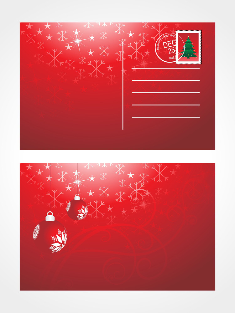 Christmas Post Card With Decotated Bulb