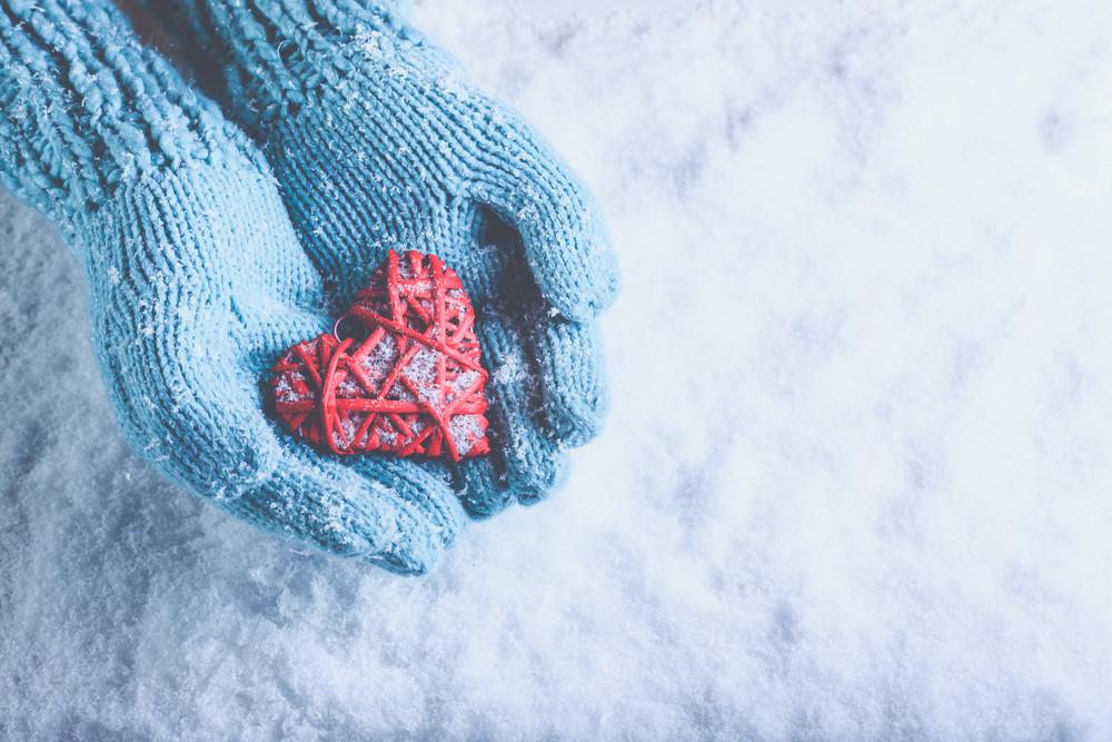 Blue gloved winter love