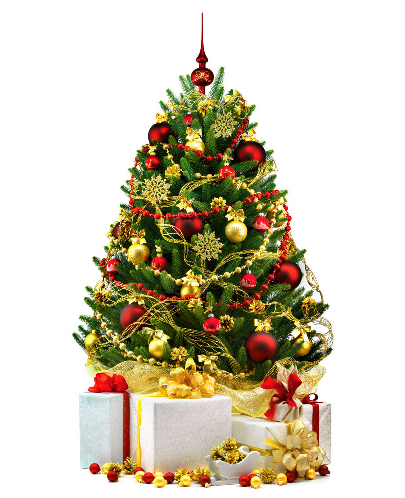 Decorated Christmas Tree On White Background Royalty Free