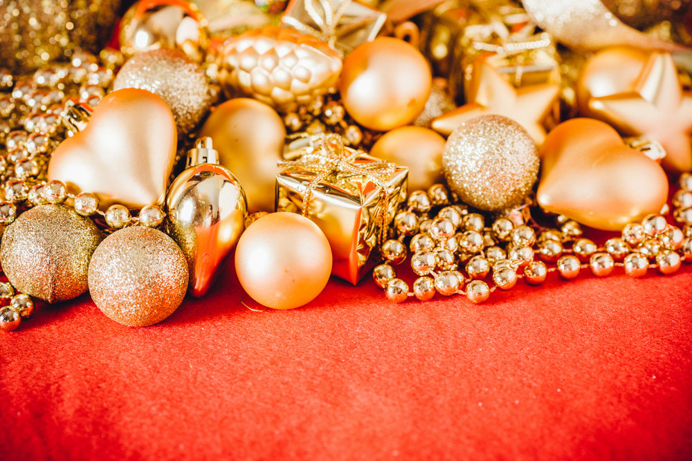 Christmas background with gold christmas decoration