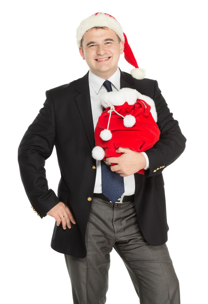 Business man with New Year and Christmas presents