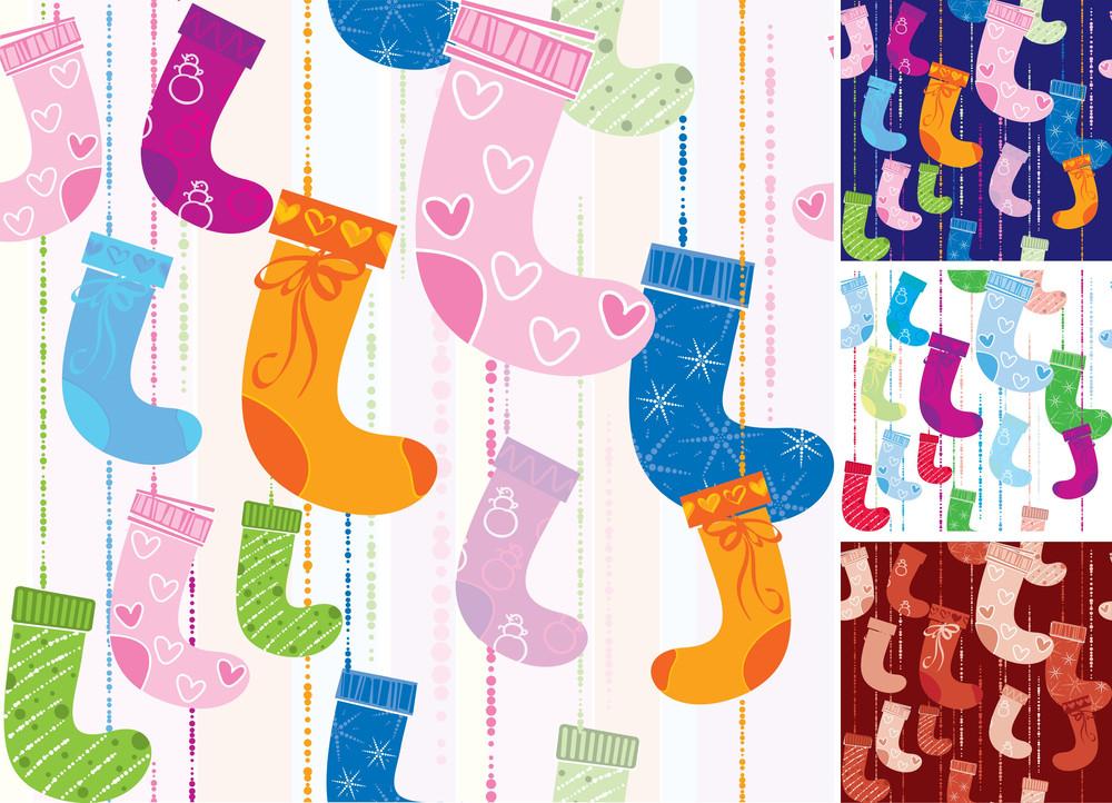 Christmas Socks. Seamless Background Vector.
