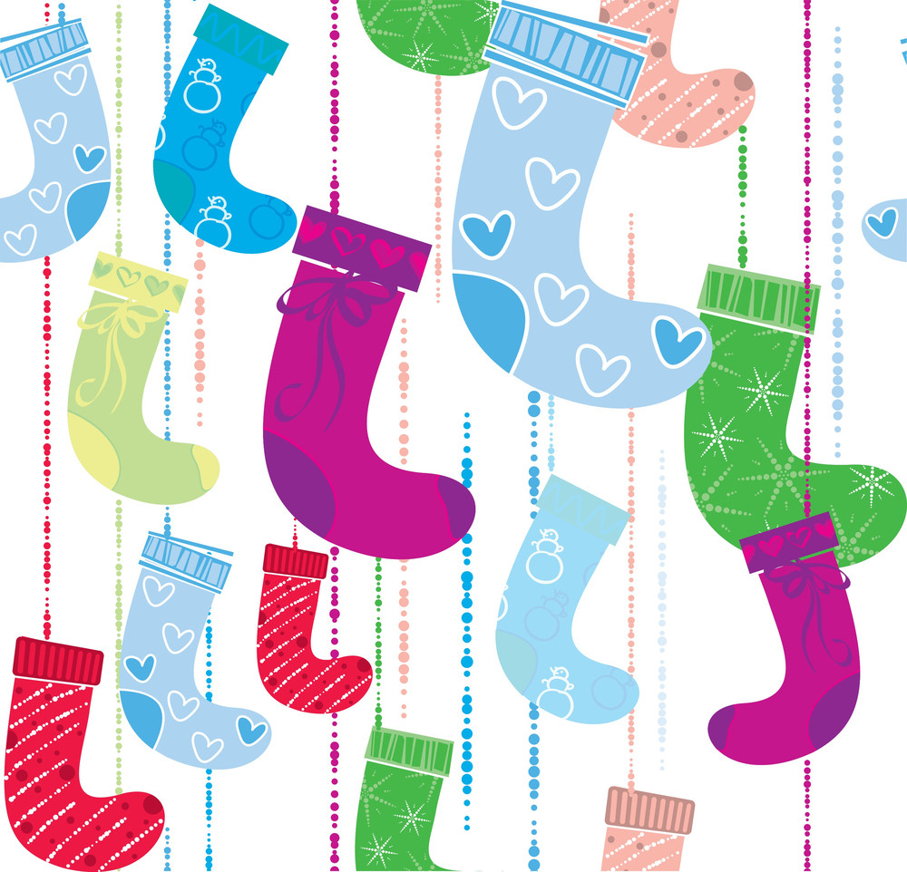 Christmas Socks. Seamless Background Vector.