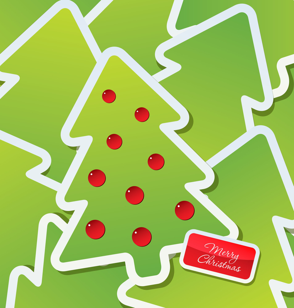 Christmas Theme - Decorated Green Christmas Tree Labels