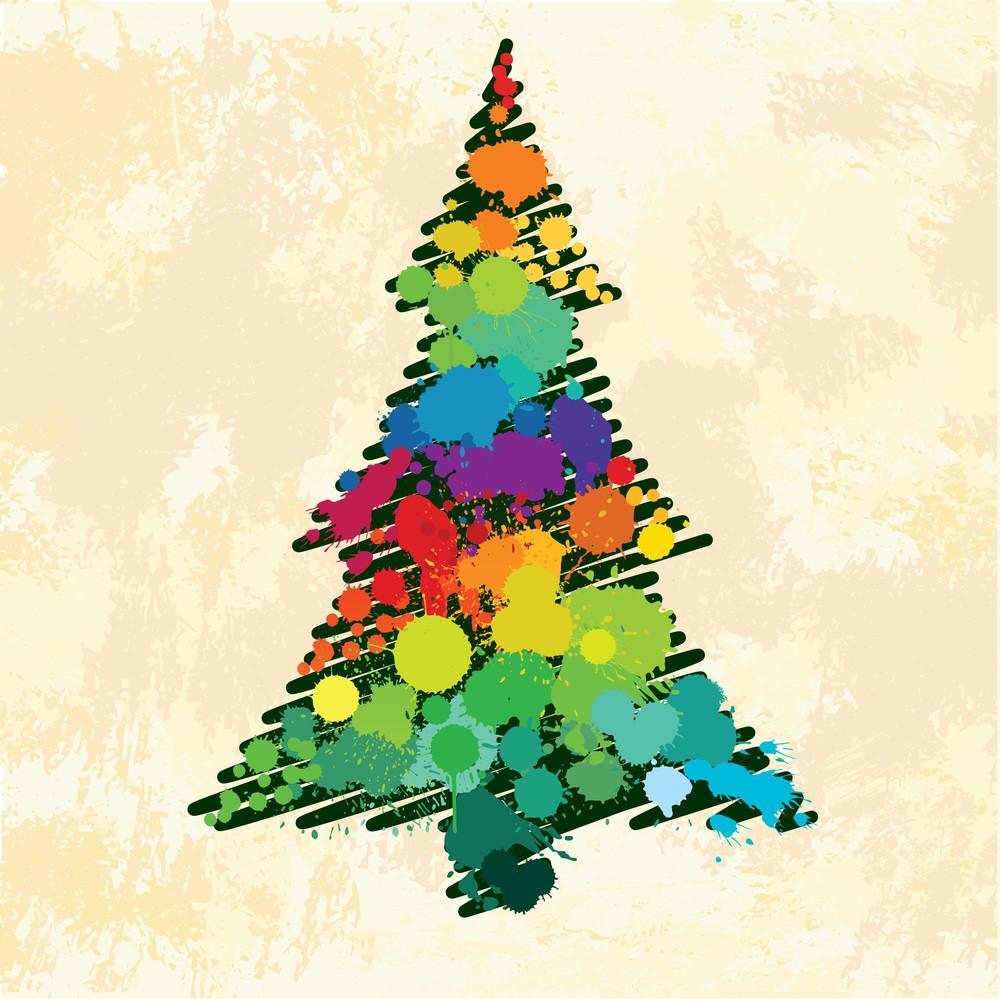 Christmas Tree Grunge Splatters
