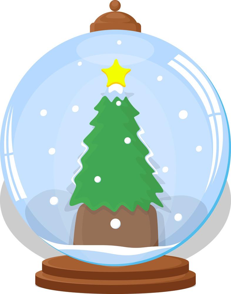 Christmas Tree In Ice Globe - Christmas Vector Illustration