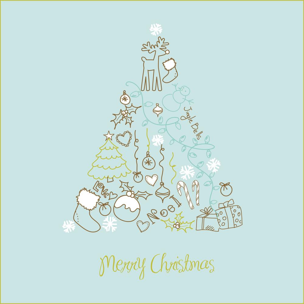 Christmas Tree Made Of Cartoon Holiday Symbols-