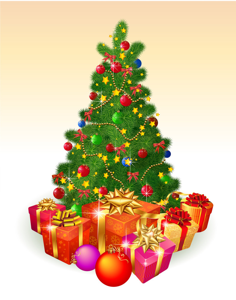 Christmas Tree With Gifts. Vector. Royalty-Free Stock Image ...