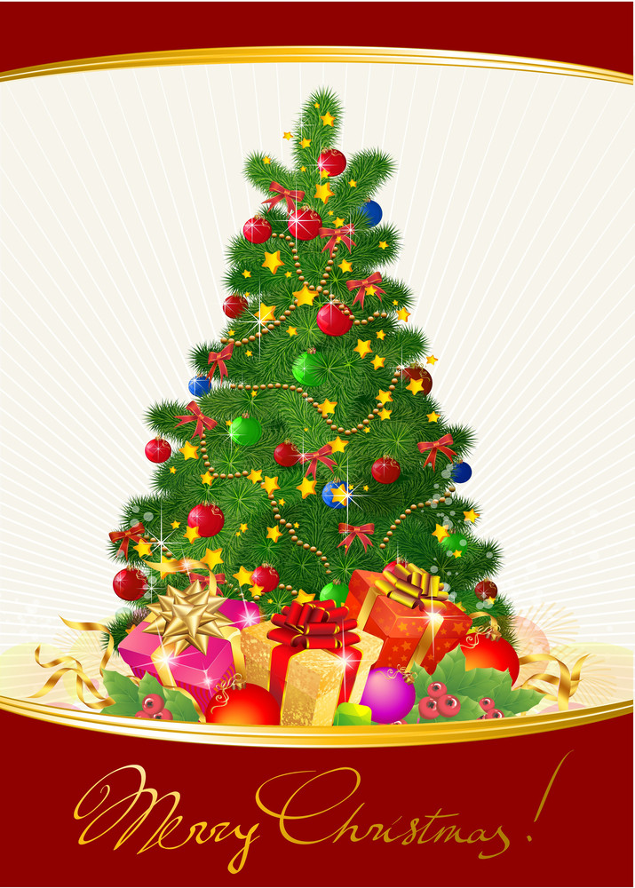 Christmas Tree With Gifts. Vector.