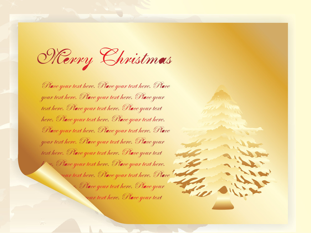 Christmas Tree With Golden Papper