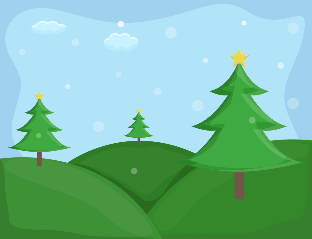 Christmas Trees - Cartoon Background Vector