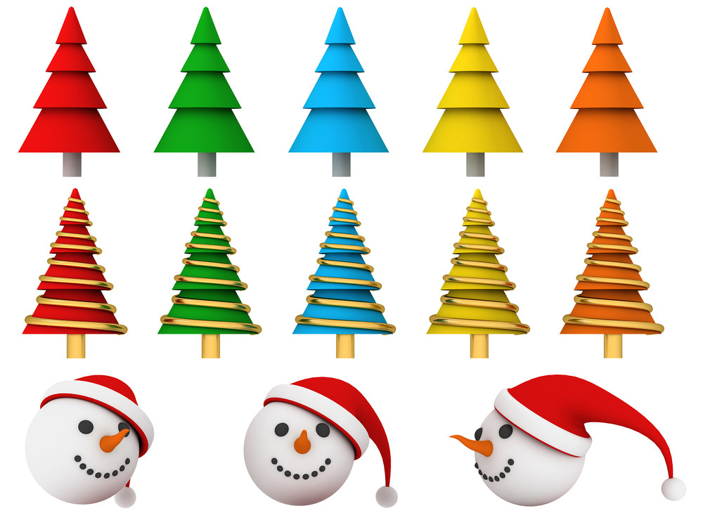 Christmas Trees With Snowman Faces