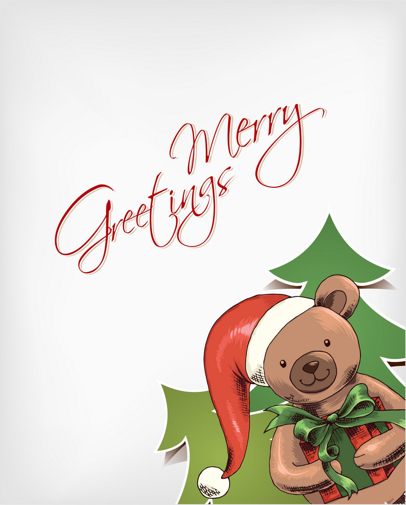 Christmas Vector Illustration With Bear And Christmas Tree