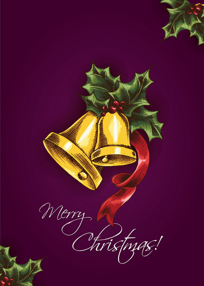 Christmas Vector Illustration With Bells And Holly Berry