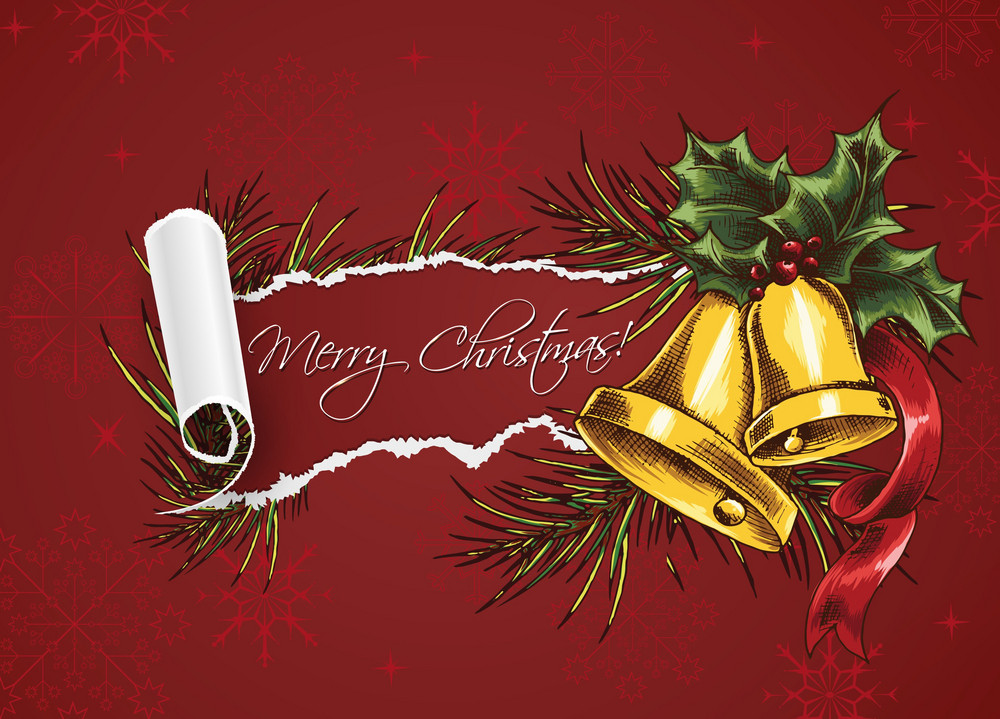 Christmas Vector Illustration With Bells And Torn Paper