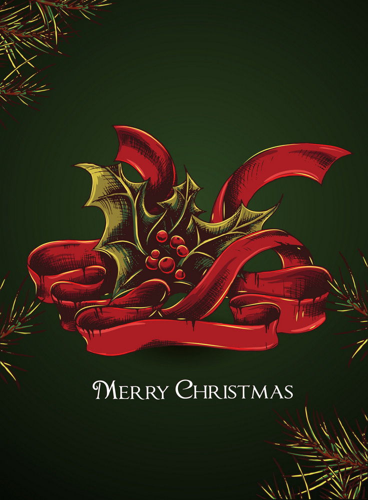 Christmas Vector Illustration With Bow And Holly Berry