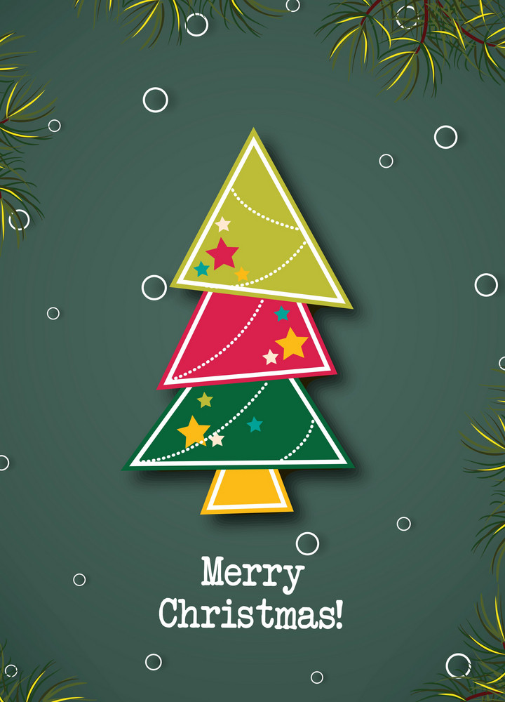 Christmas Vector Illustration With Chrismtas Tree