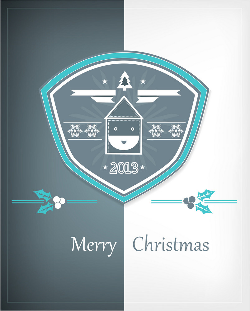 Christmas Vector Illustration With Christmas Badge And Santa