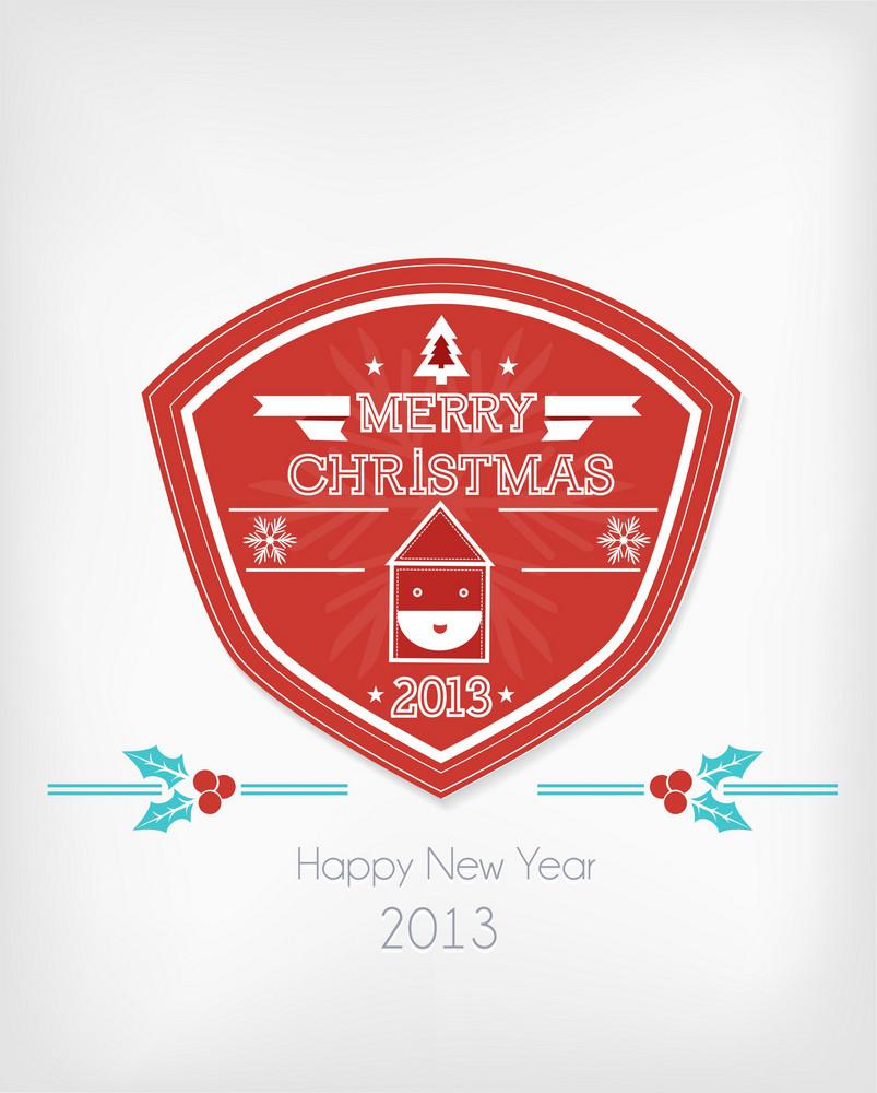 Christmas Vector Illustration With Christmas Badge