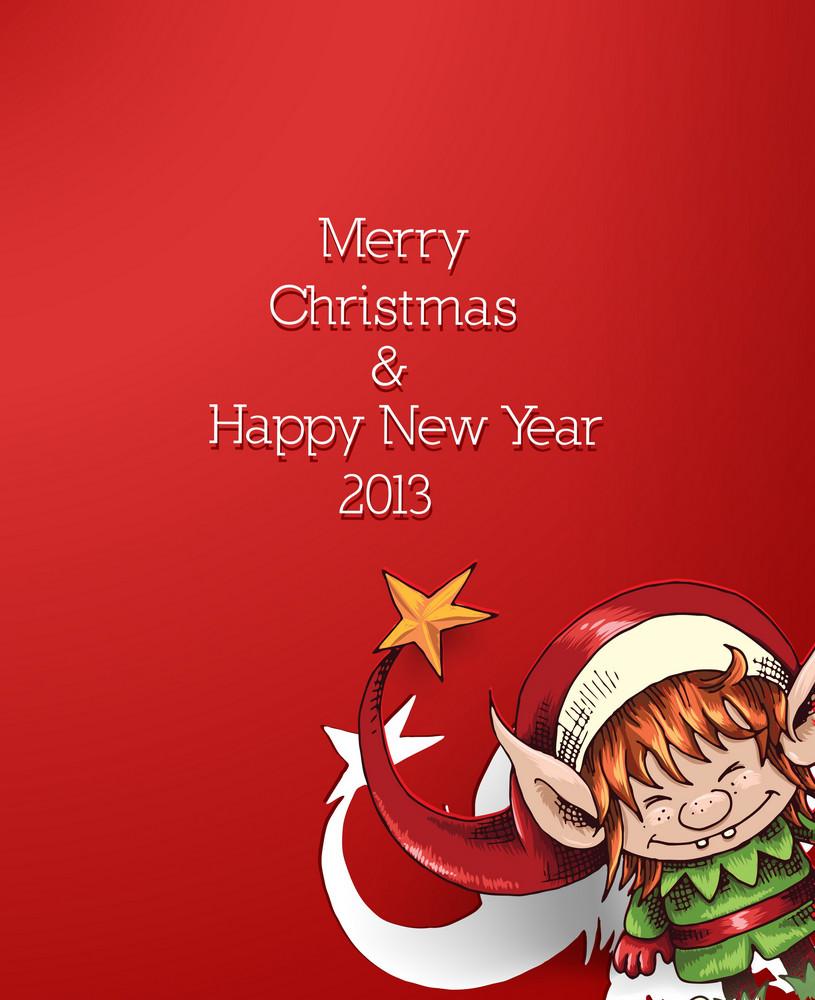 Christmas Vector Illustration With Christmas Elf