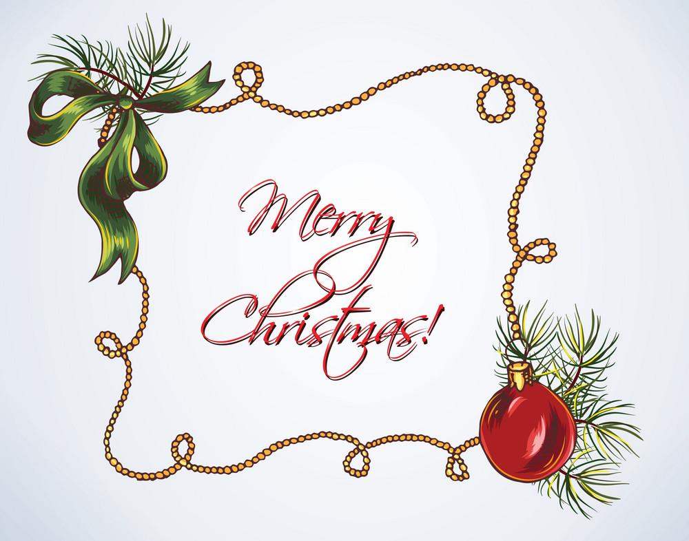 Christmas Vector Illustration  With Christmas Frame