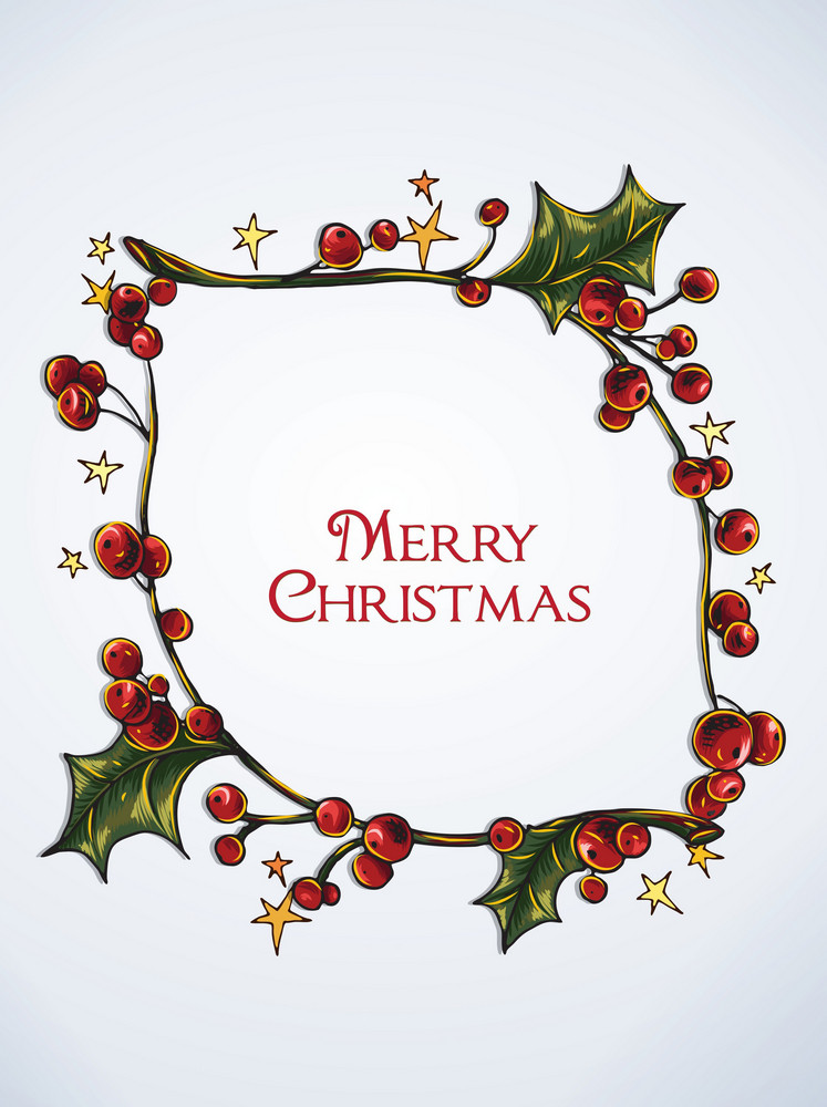 Christmas Vector Illustration  With Christmas Frame