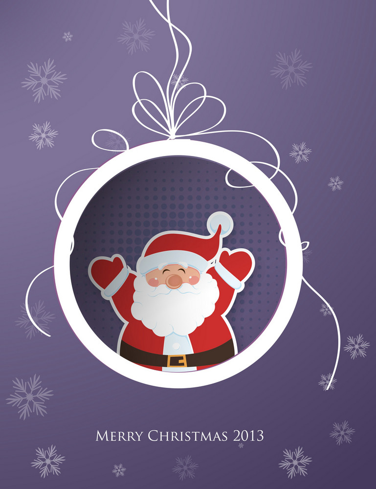 Christmas Vector Illustration With Christmas Globe And Santa