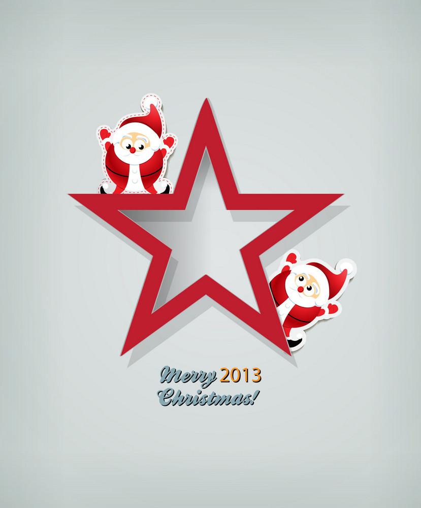 Christmas Vector Illustration With  Christmas Star And Santa