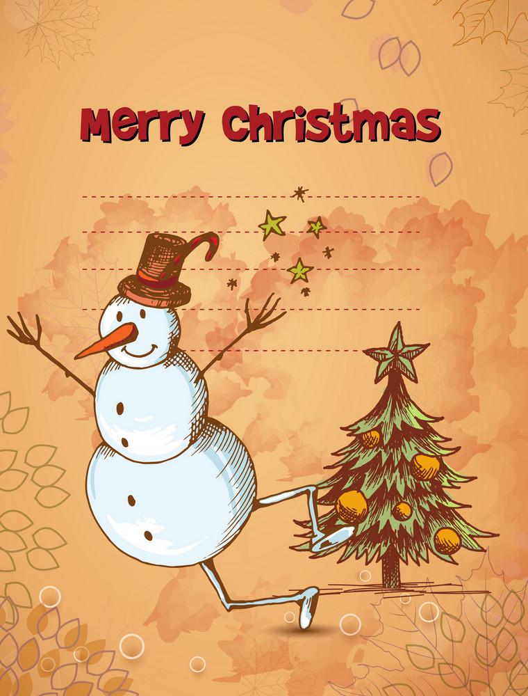 Christmas Vector Illustration With Christmas Tree And Snow Man