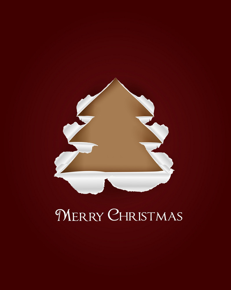 Christmas Vector Illustration With Christmas Tree And Torn Paper