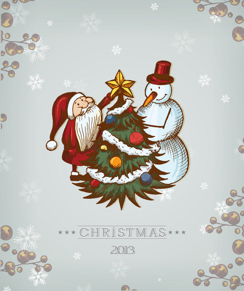 Christmas Vector Illustration With Christmas Tree, Snowman And Santa