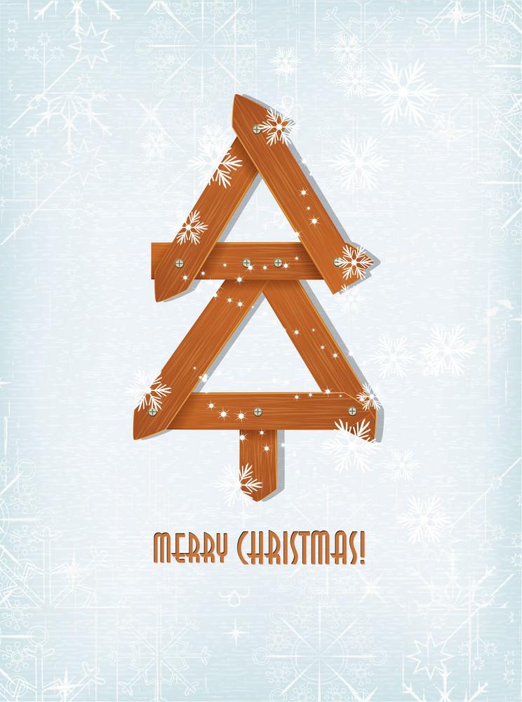 Christmas Vector Illustration With Christmas Tree