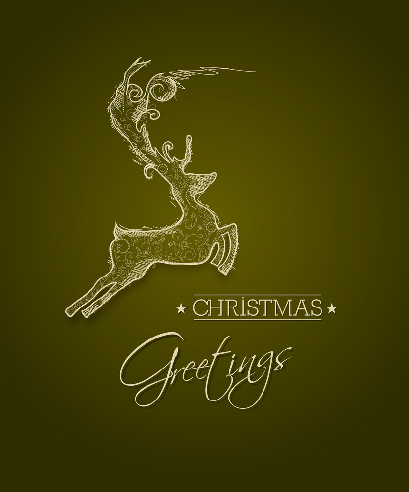 Christmas Vector Illustration With Deer