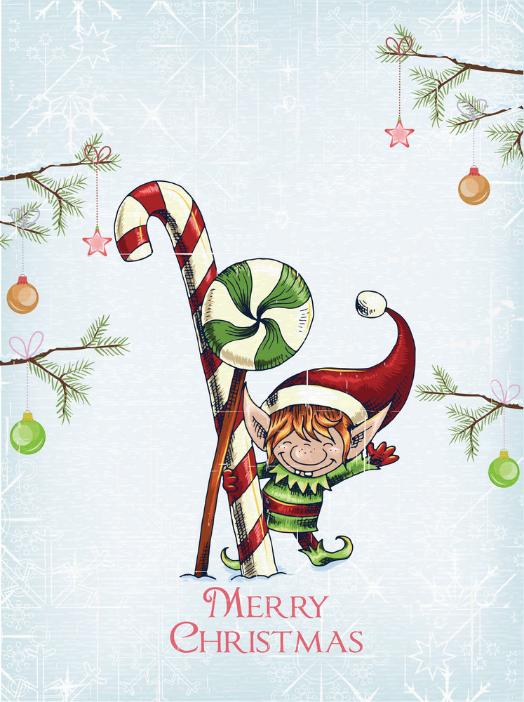 Christmas Vector Illustration With Elf And Candy