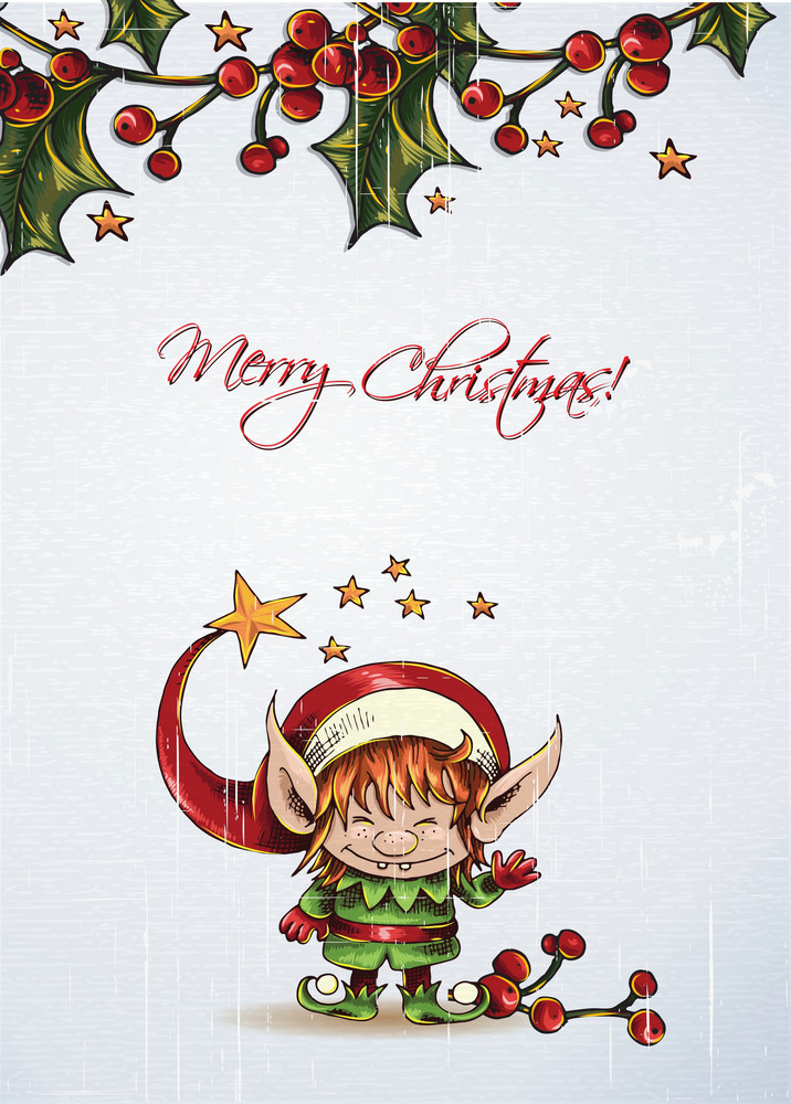 Christmas Vector Illustration With Elf And Cranberryes