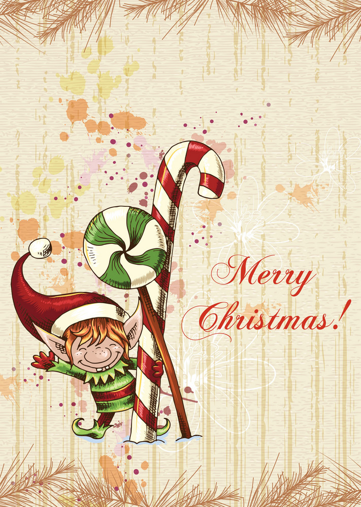 Christmas Vector Illustration With Elf And Fir