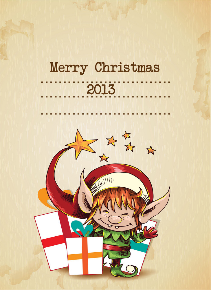 Christmas Vector Illustration With Elf And Gift