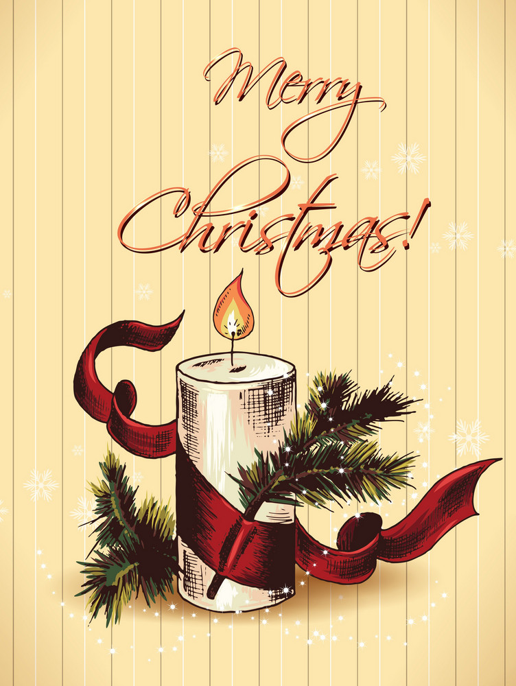 Christmas Vector Illustration With Fir And Candle