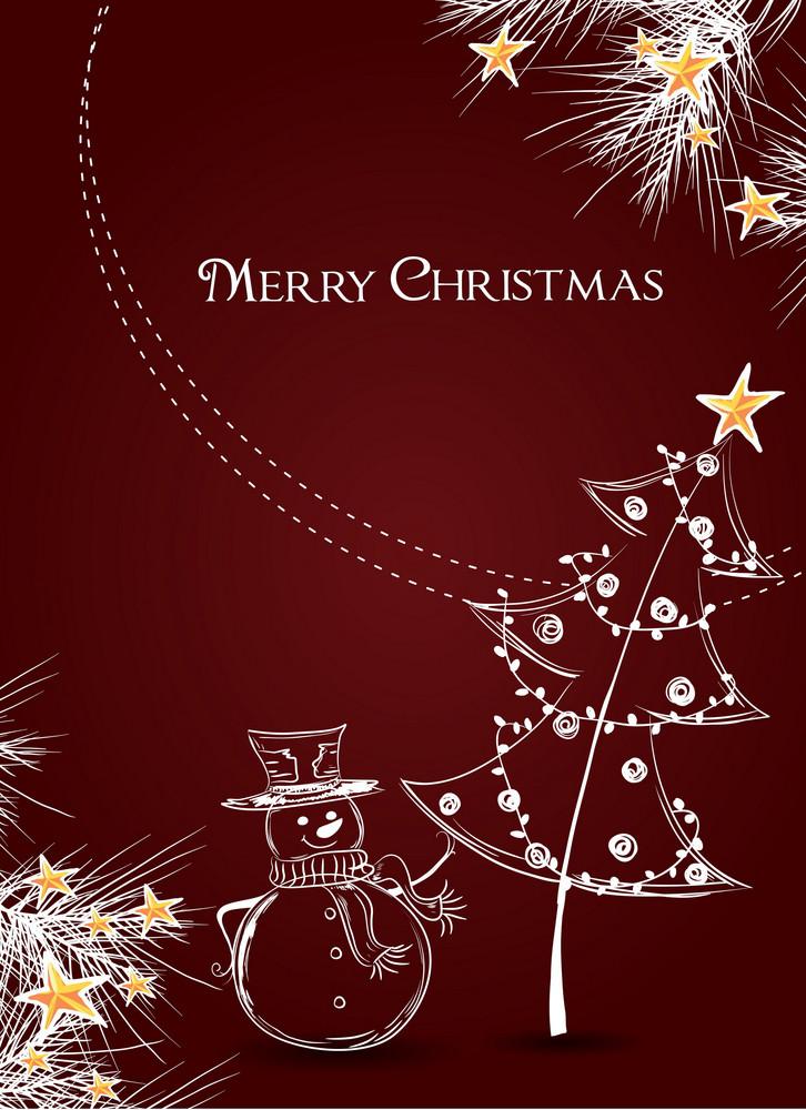 Christmas Vector Illustration With Fir And Christmas Tree