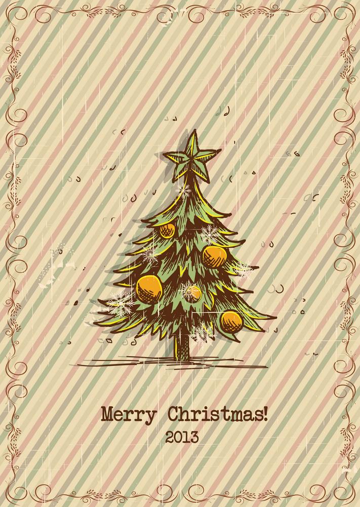 Christmas Vector Illustration With Frame And Christmas Tree