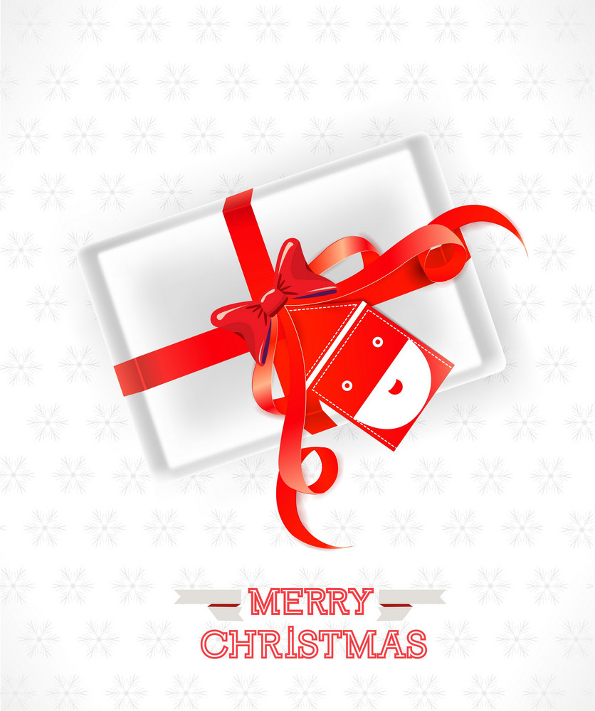Christmas Vector Illustration With Gift And Santa Sticker