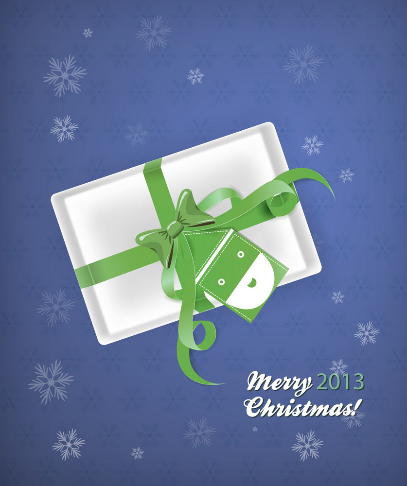 Christmas Vector Illustration With Gift, Santa And Bow